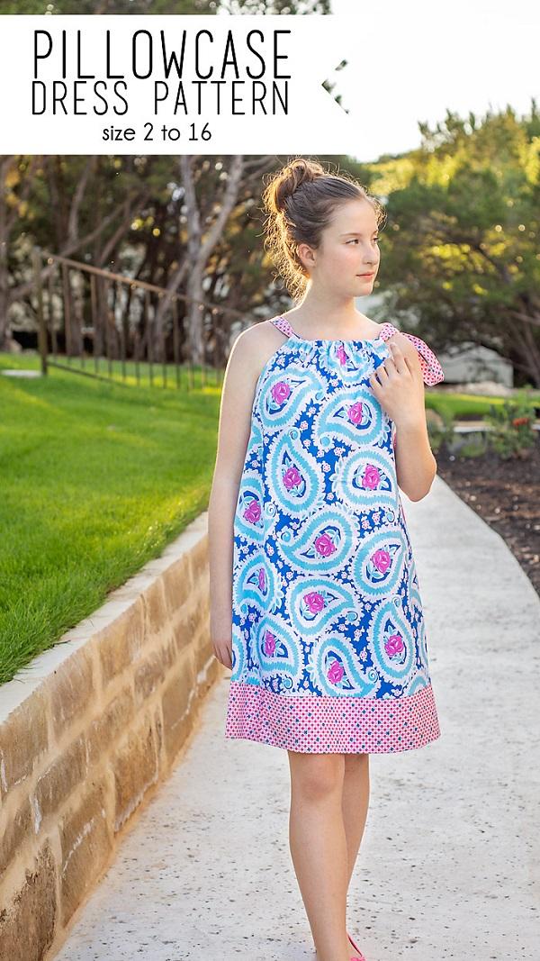 Free sewing pattern: Girls pillowcase dress