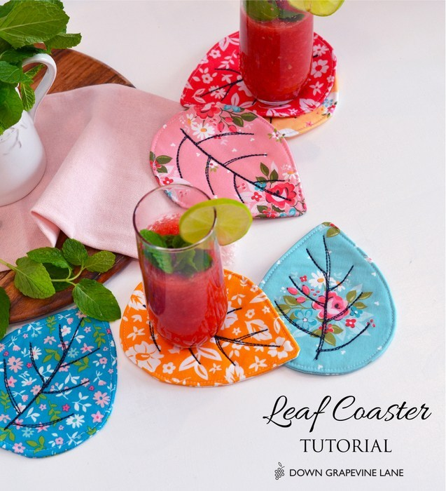 Sewing tutorial: Quilted leaf coasters