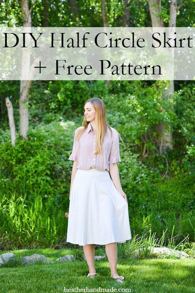 Free sewing pattern: Half circle skirt