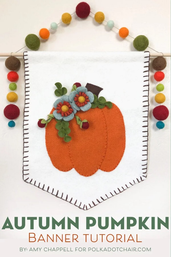 Free pattern: Wool felt autumn pumpkin banner