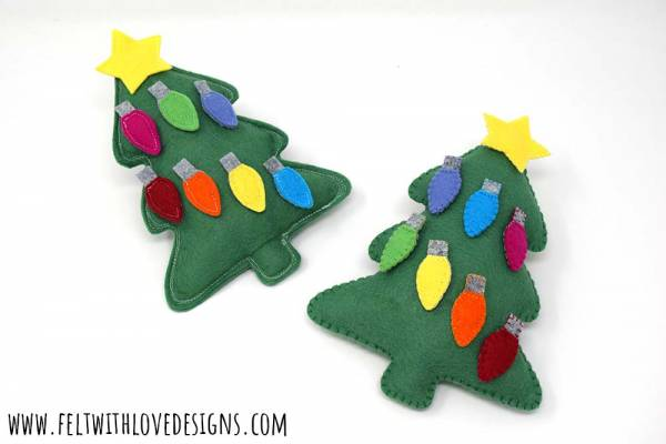Sewing tutorial: Felt Christmas tree toy with ornaments