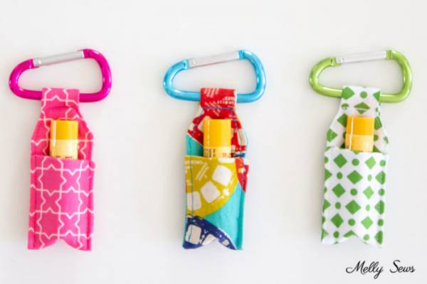 Sewing tutorial: Keychain chapstick holders