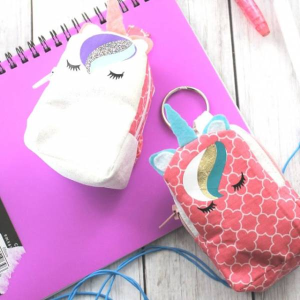 Free sewing pattern: Mini unicorn backpack coin purse