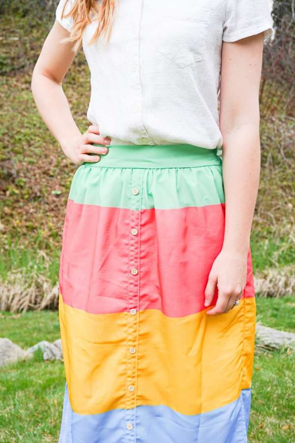 DIY sewing tutorial: Faux button placket skirt