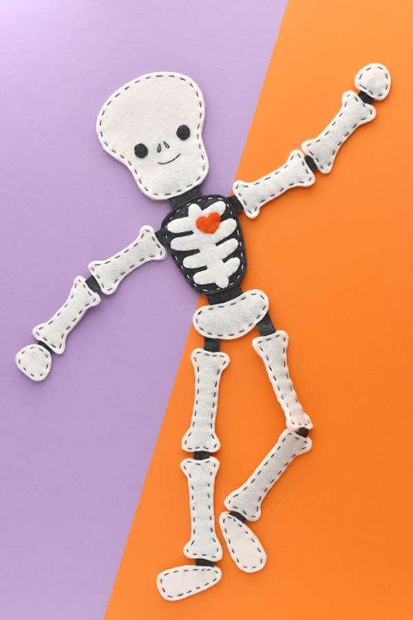 Jointed Felt Skeleton Plushie - Free Sewing Pattern