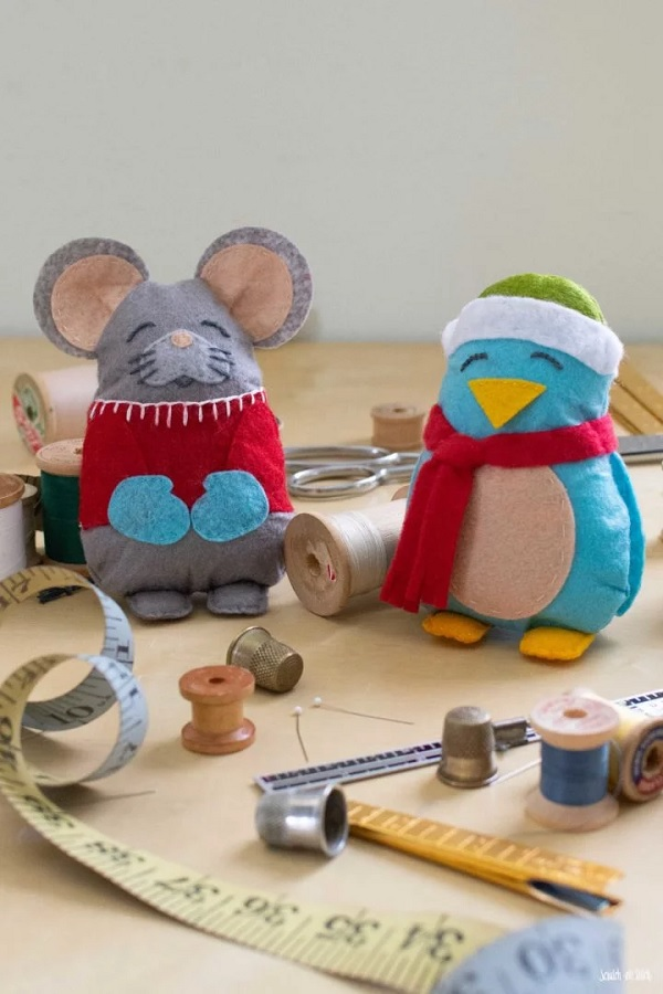 Pocket Mouse & Bird Softies - Free Sewing Pattern
