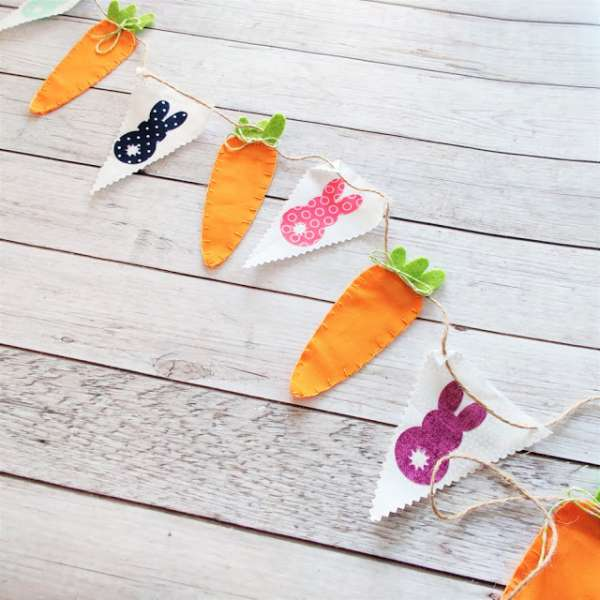 Carrot and Bunny Garland - Free Sewing Pattern