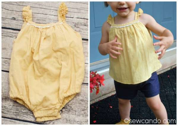 Baby Tank Top from an Outgrown Romper - DIY Sewing Tutorial