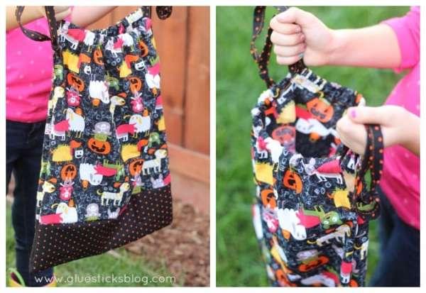 DIY Drawstring Trick or Treat Bag Sewing Tutorial