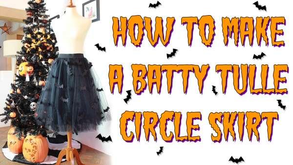 Halloween Bat Tulle Skirt DIY Sewing Tutorial