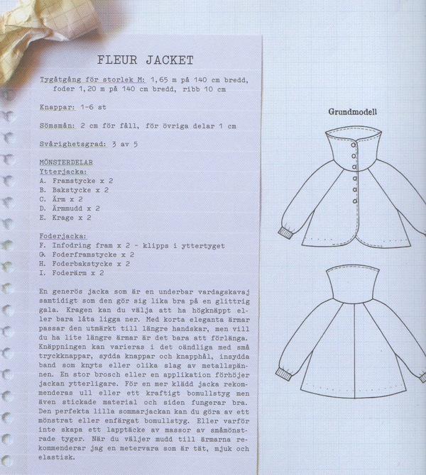Fleur jacket line drawing