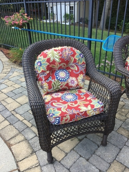 No Pattern Used Wicker Chair and Loveseat Cushion Outdoor