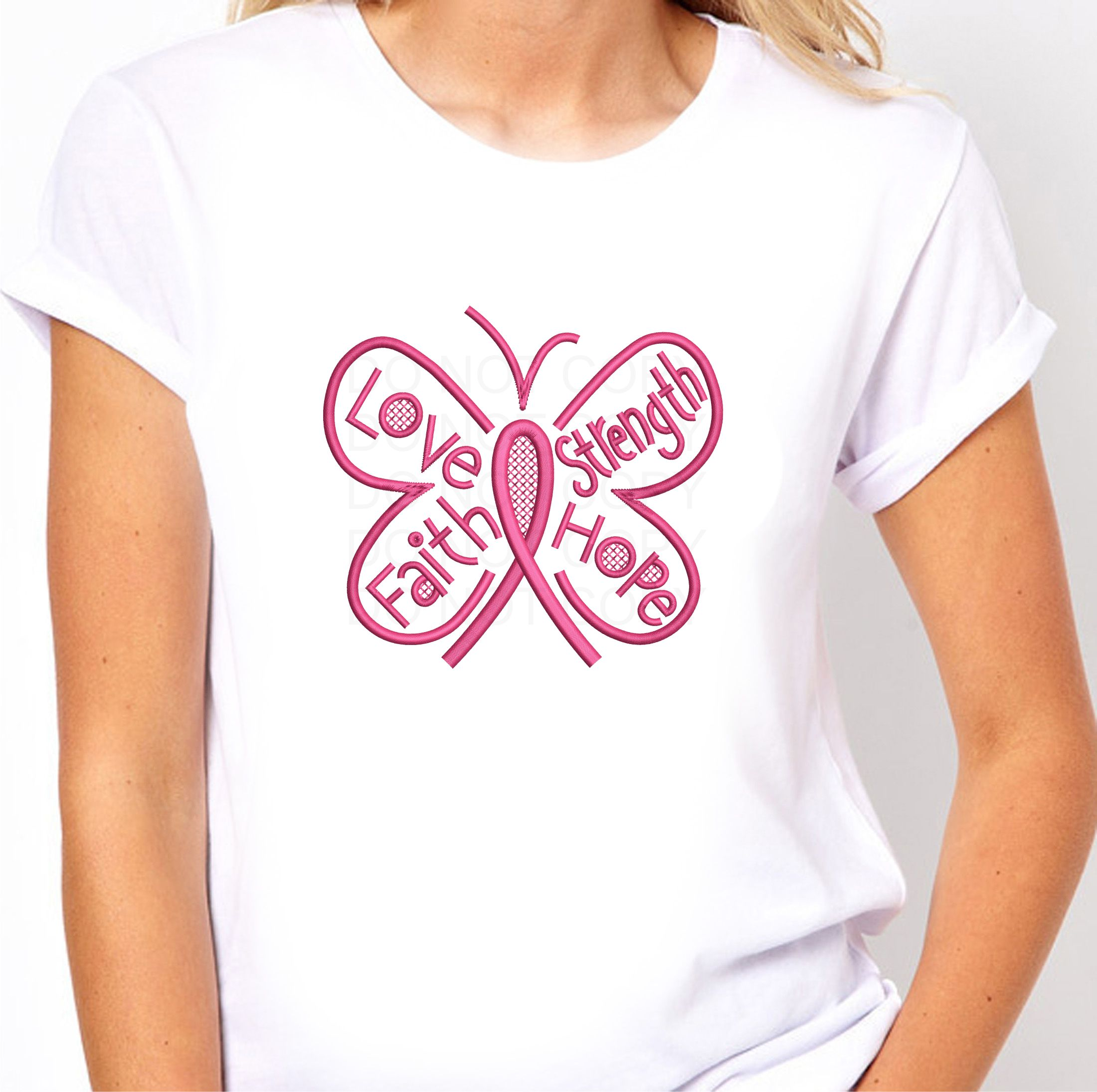 Awareness Ribbon Butterfly Machine Embroidery Pattern