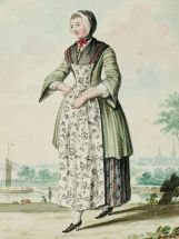 1770s Women OUtfit with Mixed Prints and Pinner Apron found on digital_bunka_ac_jp