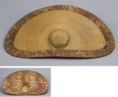18th Century Dutch Straw and Chintz hat, 30 x 22 with chin strap