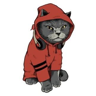 Vinyltryck Katt hoodie