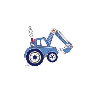 Vinyltryck Traktor blå - 17x14