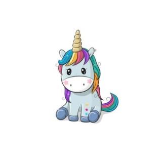 Vinyltryck unicorn sitter blå 5x7