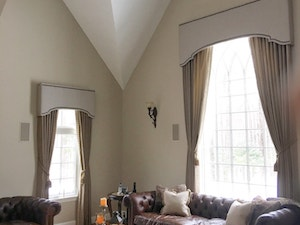 Living Room Cornice and Curtains by The Sewing Loft of Avon