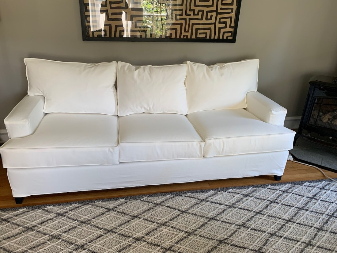 White slipcover by The Sewing Loft of Avon