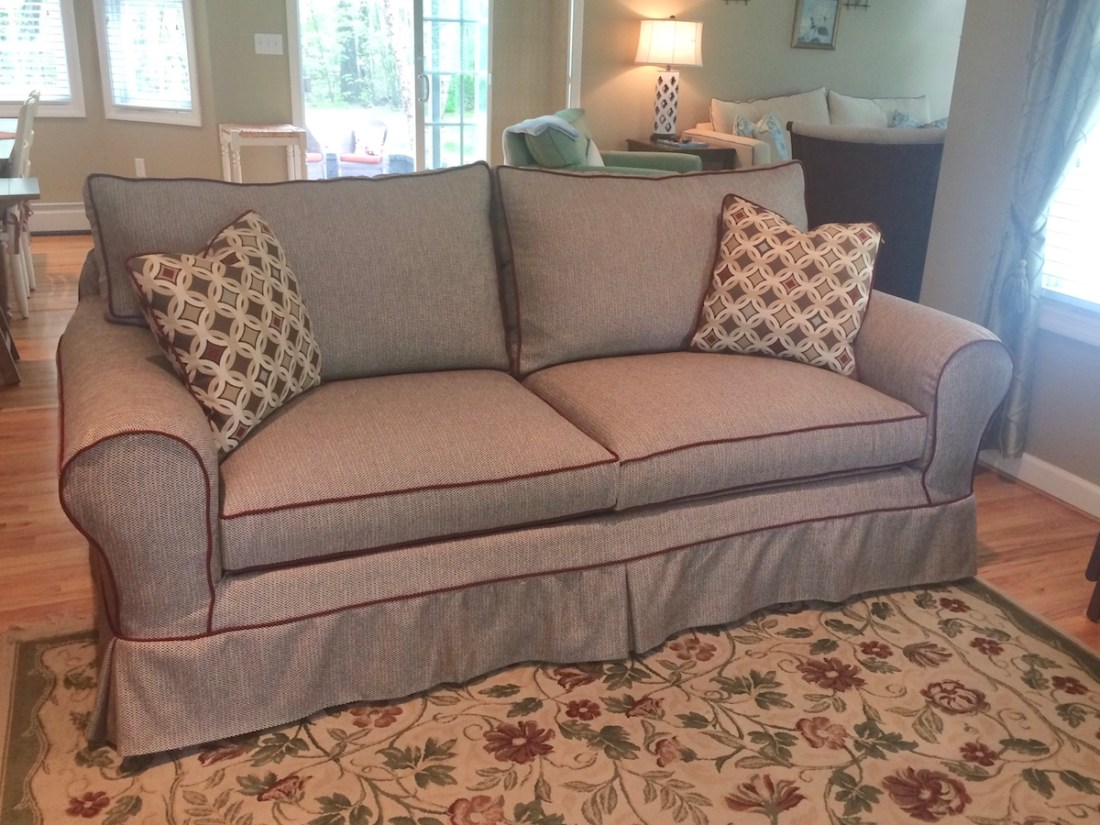 Slipcover with piping from The Sewing Loft of Avon