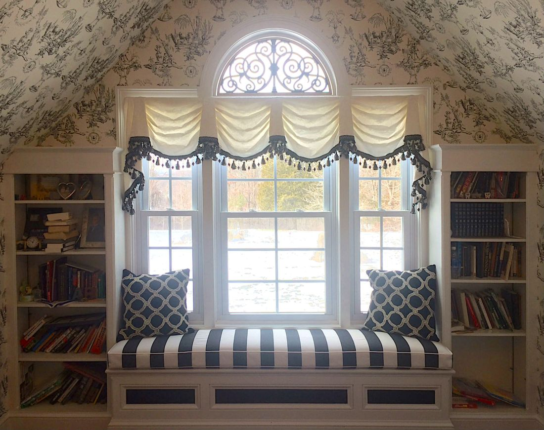 window seat valance and cushion from The Sewing Loft of Avon