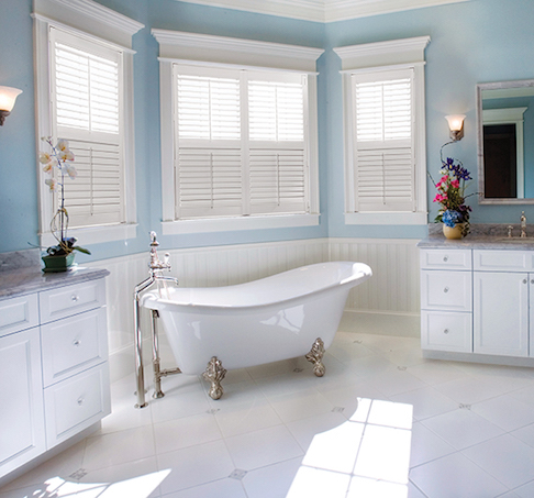 Custom Window Treatments in Master Bath