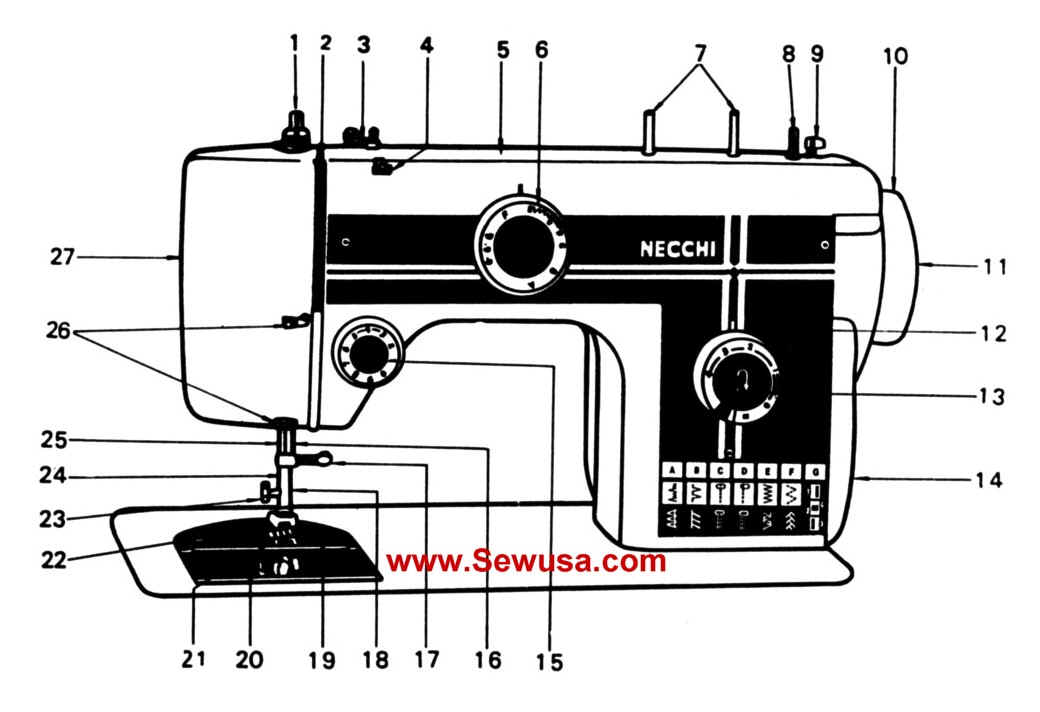 Necchi Model 522 Sewing Machine Instruction Manual