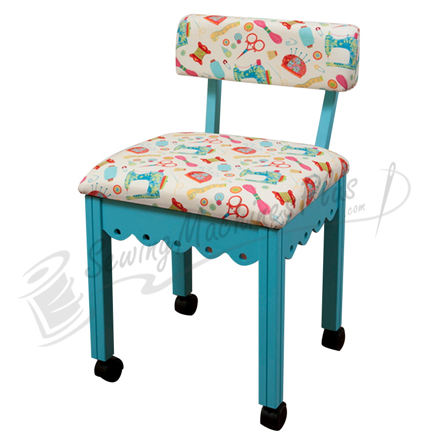 Arrow Sewing Chair White Riley Blake Fabric On Blue 7019w