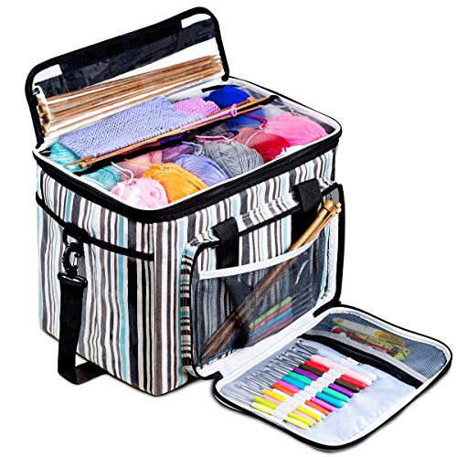 BONTIME Knitting Bag - High Capacity Striped Yarn Storage Tote Bag,Project Bags with Roomy Interior