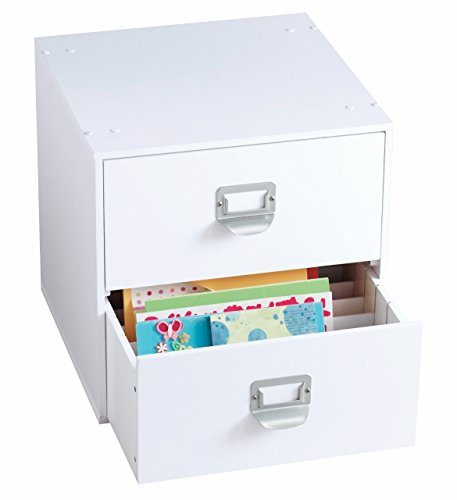 2-Drawer Craft Organizer Cube, White