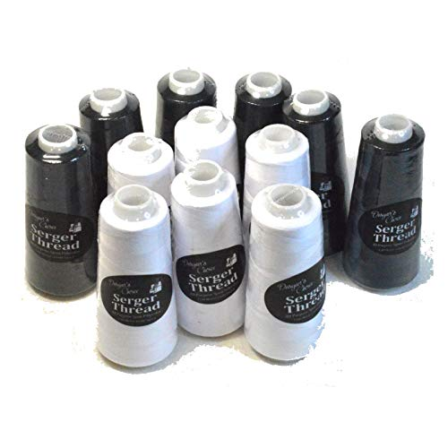 Set of 12 Black & White Serger Embroidery Thread