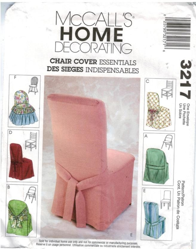 McCalls Pattern 3217 Home decorating chair covers  Sewing