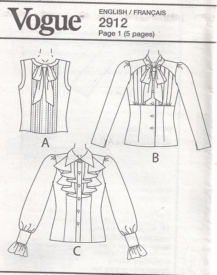 Vogue Pattern 2912 Anna Sui Designer Blouses Ruffle Tucks