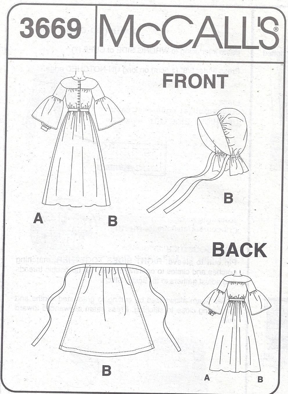 McCalls Pattern 3669 Old West Prarie Dress and Bonnet