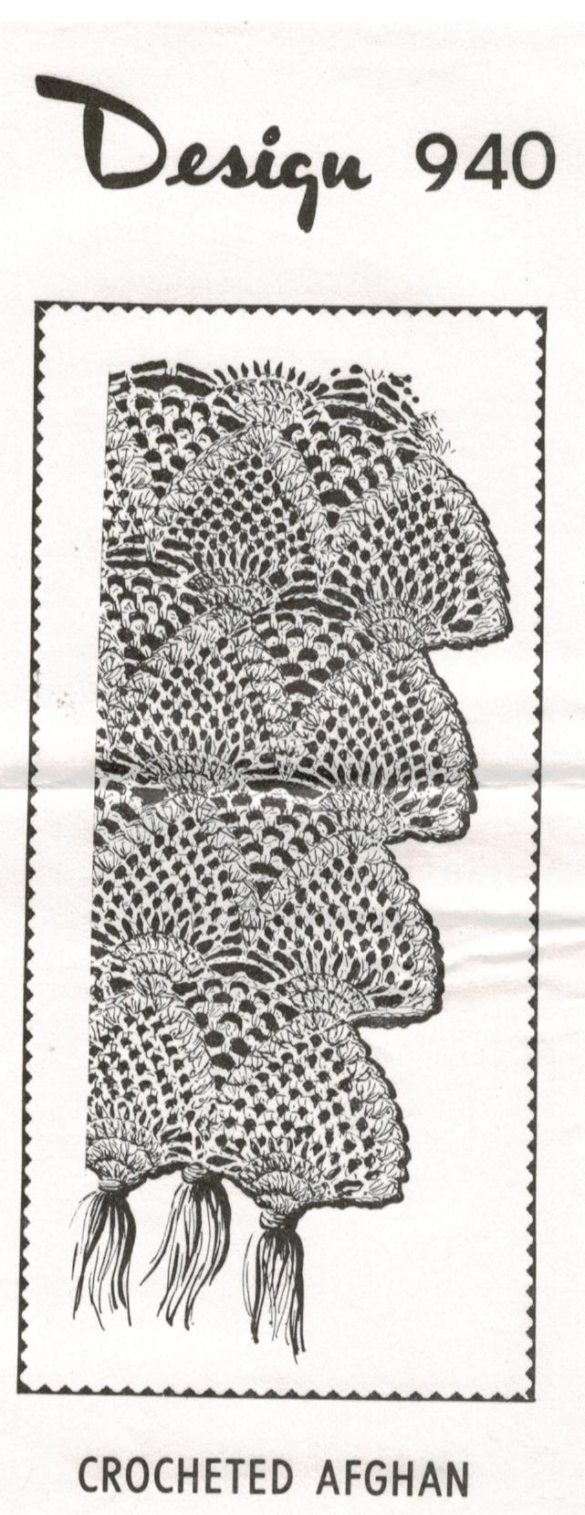 Vintage Mail Order Crochet Pattern Fan Afghan