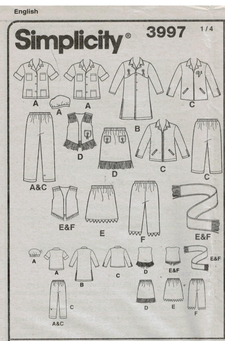 Simplicity Pattern 3997 Costumes for Children western