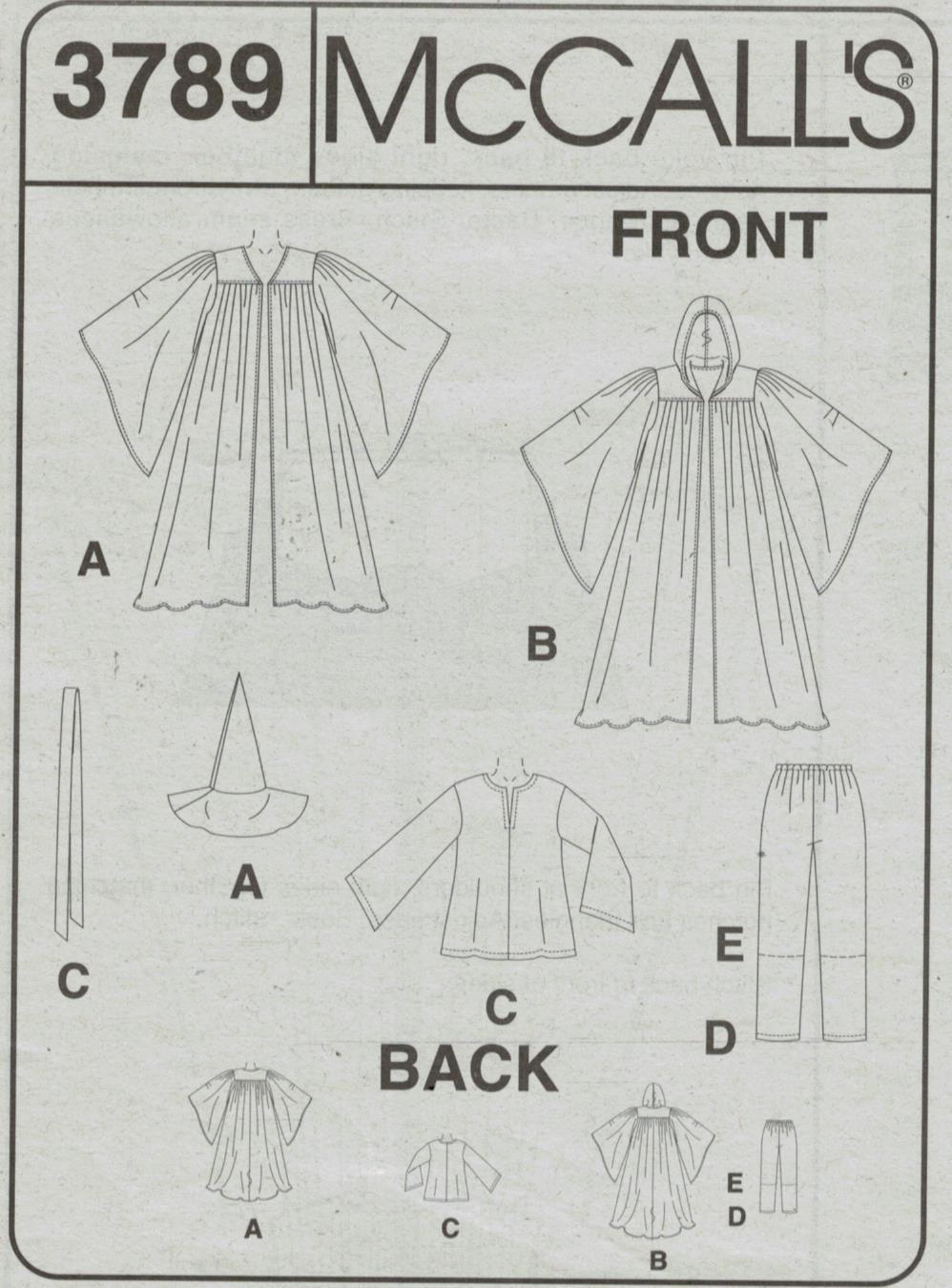 McCalls Pattern 3789 Costume Wizard Gandolf Star Wars