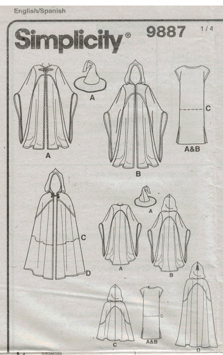 Simplicity Pattern 9887 Costumes Star Wars Hobbit Wizard