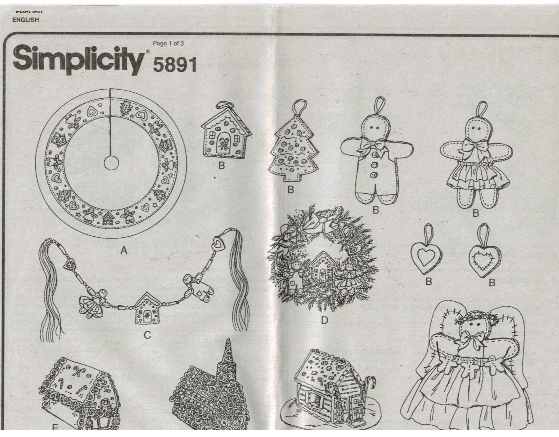 Simplicity Pattern 5891 Christmas Holiday Gingerbread