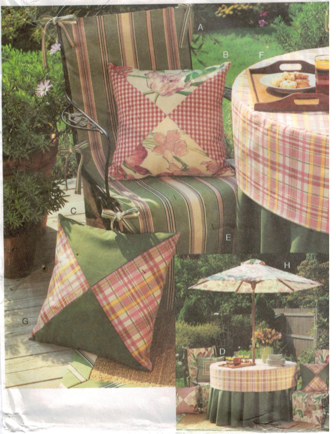 sewing patterns for patio chair cushions design made of wood vogue pattern 7732 set umbrella tablecloth pillows