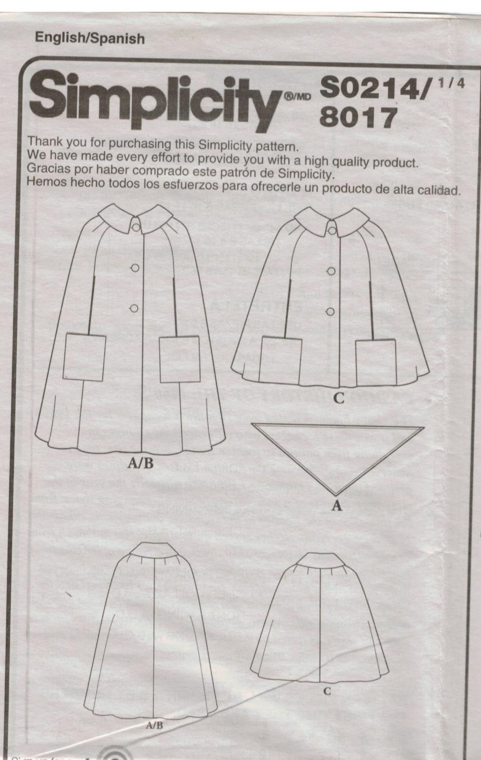 Simplicity Pattern 8017 S0214 Retro Vintage Cape and
