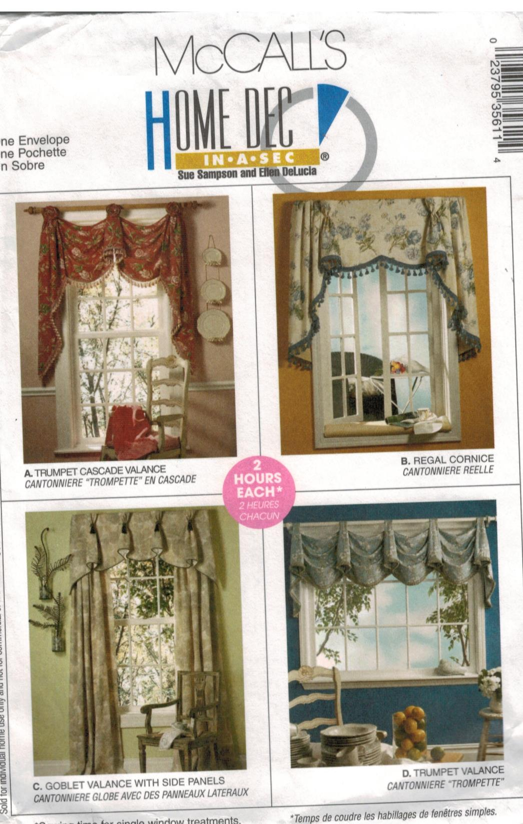 Mccalls Pattern Valances And Cornice Quick And Easy