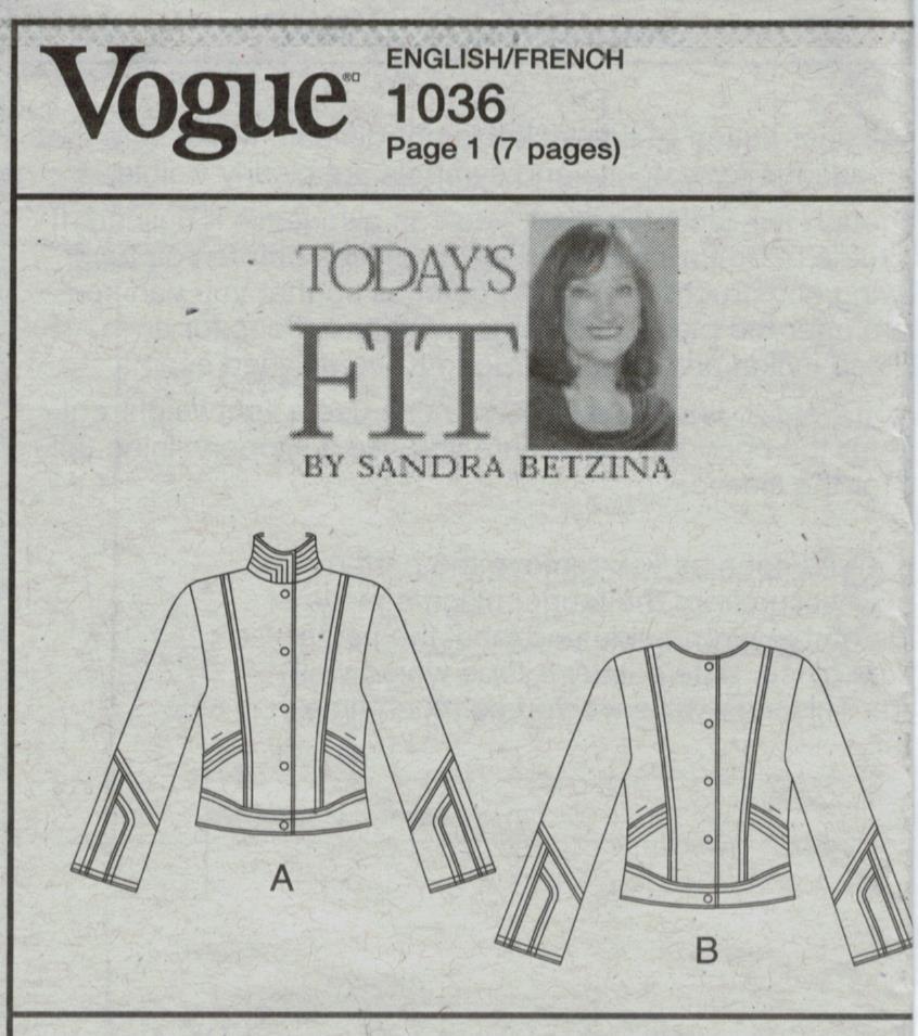 Vogue Pattern 1036 Today's Fit by Sandra Betzina Designer