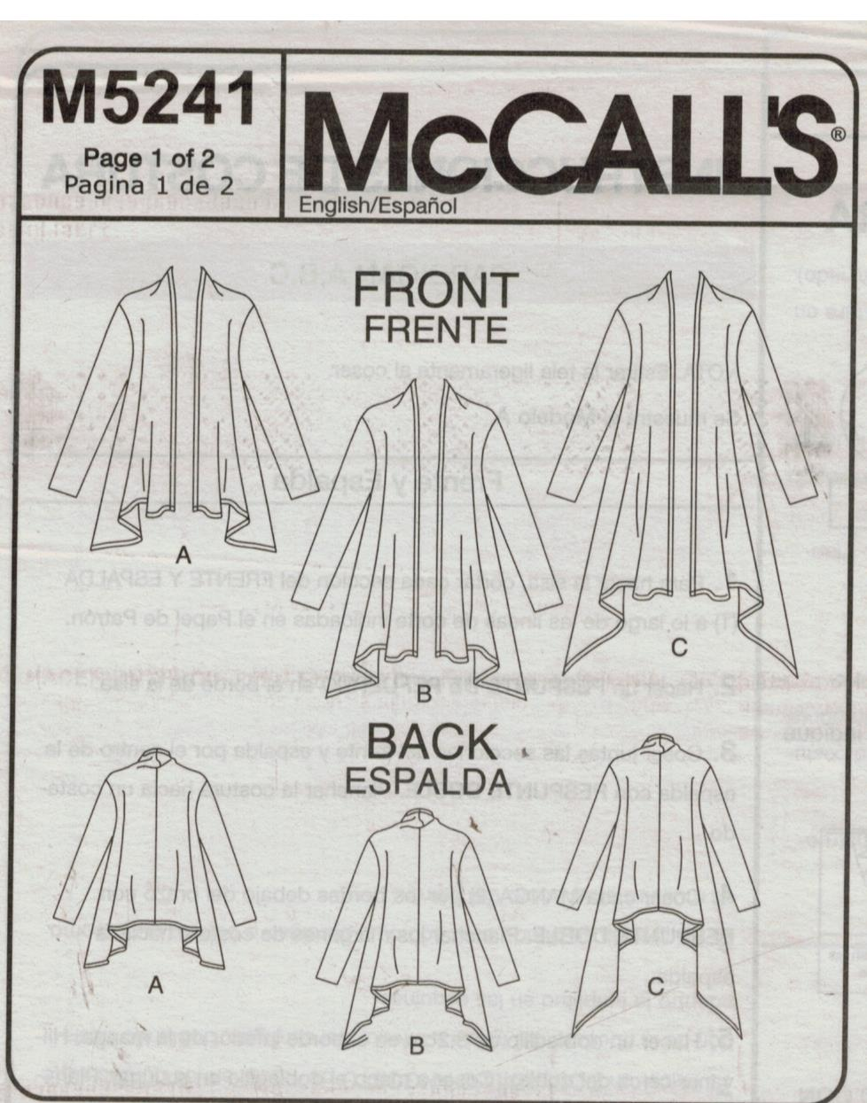 McCalls Pattern 5241 One Hour Easy Knit Drape or Tie front