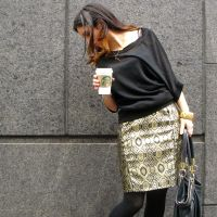 Gold brocade pencil Skirt