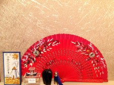Red fan from Malaga many moons ago, ebony elephant 10 pence from a car boot sale, Mum's blue enamel perfume bottle, Dad's room thermometer and Miss Dior!
