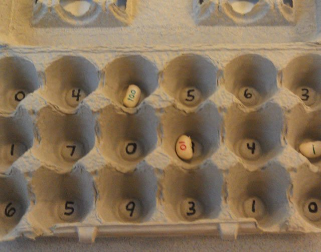 reuse egg carton for math game