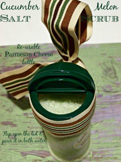 Reusable Parmesan Cheese Bottle for Cucumber Melon Salt Scrub sewlicioushomedecor