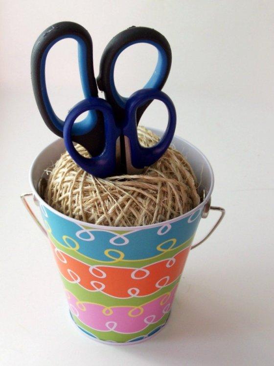 DIY Craft Room Bucket and Twine Scissor Holders at sewlicioushomedecor.com